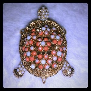Vintage signed CINER mini faux pearl turtle brooch